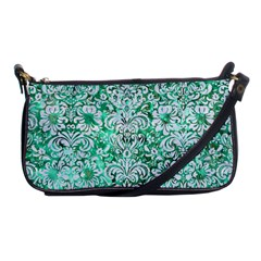 Damask2 White Marble & Green Marble Shoulder Clutch Bags