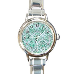 Damask1 White Marble & Green Marble (r) Round Italian Charm Watch