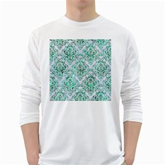 Damask1 White Marble & Green Marble (r) White Long Sleeve T Shirts