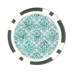Damask1 White Marble & Green Marble (r) Poker Chip Card Guard