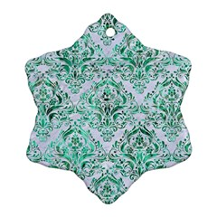 Damask1 White Marble & Green Marble (r) Ornament (snowflake)