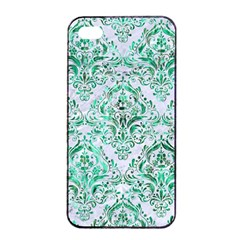 Damask1 White Marble & Green Marble (r) Apple Iphone 4/4s Seamless Case (black)