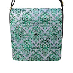 Damask1 White Marble & Green Marble (r) Flap Messenger Bag (l)
