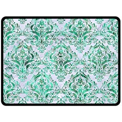 Damask1 White Marble & Green Marble (r) Double Sided Fleece Blanket (large)