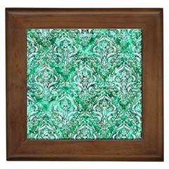Damask1 White Marble & Green Marble Framed Tiles