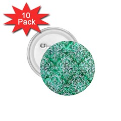 Damask1 White Marble & Green Marble 1 75  Buttons (10 Pack)