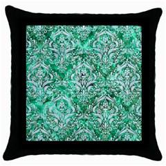 Damask1 White Marble & Green Marble Throw Pillow Case (black)