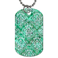 Damask1 White Marble & Green Marble Dog Tag (two Sides)
