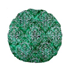 Damask1 White Marble & Green Marble Standard 15  Premium Round Cushions