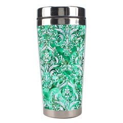 Damask1 White Marble & Green Marble Stainless Steel Travel Tumblers