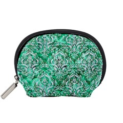 Damask1 White Marble & Green Marble Accessory Pouches (small)