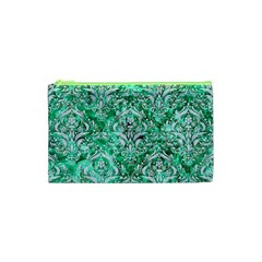 Damask1 White Marble & Green Marble Cosmetic Bag (xs)