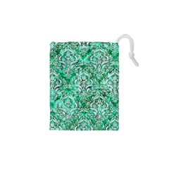Damask1 White Marble & Green Marble Drawstring Pouches (xs)
