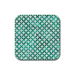 Circles3 White Marble & Green Marble (r) Rubber Coaster (square)