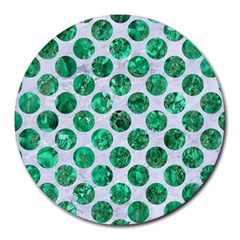 Circles2 White Marble & Green Marble (r) Round Mousepads by trendistuff