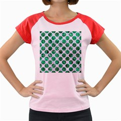 Circles2 White Marble & Green Marble (r) Women s Cap Sleeve T Shirt