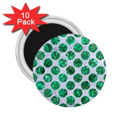 Circles2 White Marble & Green Marble (r) 2 25  Magnets (10 Pack)
