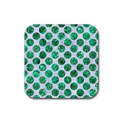 Circles2 White Marble & Green Marble (r) Rubber Coaster (square)