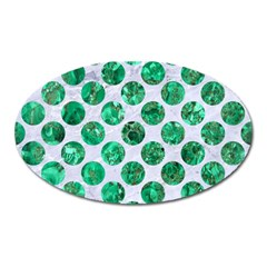 Circles2 White Marble & Green Marble (r) Oval Magnet