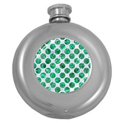 Circles2 White Marble & Green Marble (r) Round Hip Flask (5 Oz)