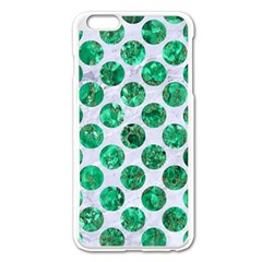 Circles2 White Marble & Green Marble (r) Apple Iphone 6 Plus/6s Plus Enamel White Case