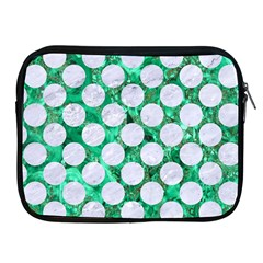 Circles2 White Marble & Green Marble Apple Ipad 2/3/4 Zipper Cases