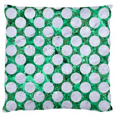 Circles2 White Marble & Green Marble Large Flano Cushion Case (one Side)