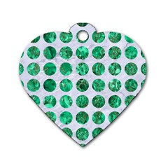 Circles1 White Marble & Green Marble (r) Dog Tag Heart (one Side)