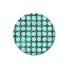 Circles1 White Marble & Green Marble Rubber Coaster (round)
