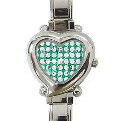 Circles1 White Marble & Green Marble Heart Italian Charm Watch