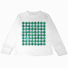Circles1 White Marble & Green Marble Kids Long Sleeve T Shirts