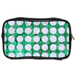 Circles1 White Marble & Green Marble Toiletries Bags 2 Side by trendistuff