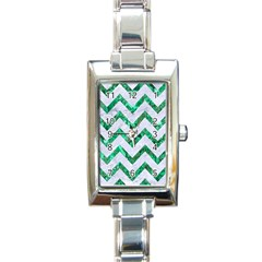 Chevron9 White Marble & Green Marble (r) Rectangle Italian Charm Watch