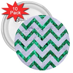 Chevron9 White Marble & Green Marble (r) 3  Buttons (10 Pack)