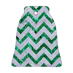 Chevron9 White Marble & Green Marble (r) Bell Ornament (two Sides)