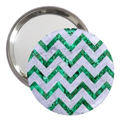 Chevron9 White Marble & Green Marble (r) 3  Handbag Mirrors
