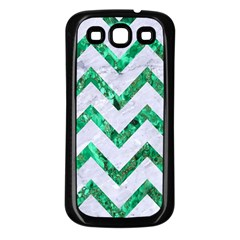 Chevron9 White Marble & Green Marble (r) Samsung Galaxy S3 Back Case (black)