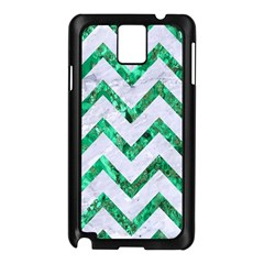 Chevron9 White Marble & Green Marble (r) Samsung Galaxy Note 3 N9005 Case (black)