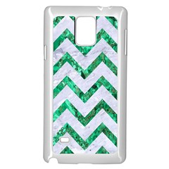 Chevron9 White Marble & Green Marble (r) Samsung Galaxy Note 4 Case (white)