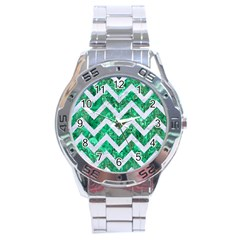 Chevron9 White Marble & Green Marble Stainless Steel Analogue Watch