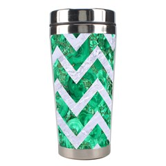 Chevron9 White Marble & Green Marble Stainless Steel Travel Tumblers
