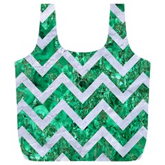 Chevron9 White Marble & Green Marble Full Print Recycle Bags (l)