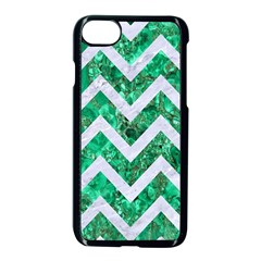 Chevron9 White Marble & Green Marble Apple Iphone 8 Seamless Case (black)