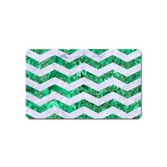 Chevron3 White Marble & Green Marble Magnet (name Card)