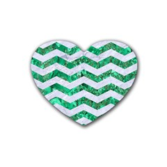 Chevron3 White Marble & Green Marble Heart Coaster (4 Pack)