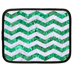 Chevron3 White Marble & Green Marble Netbook Case (large)