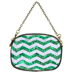 Chevron3 White Marble & Green Marble Chain Purses (one Side)