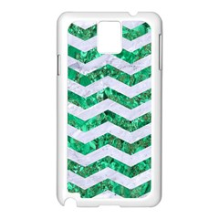 Chevron3 White Marble & Green Marble Samsung Galaxy Note 3 N9005 Case (white)
