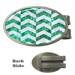 Chevron2 White Marble & Green Marble Money Clips (oval)