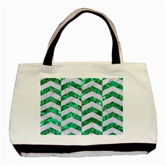 Chevron2 White Marble & Green Marble Basic Tote Bag